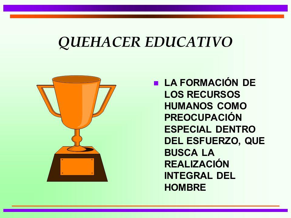 QUEHACER EDUCATIVO n LA FORMACIÓN DE LOS RECURSOS HUMANOS COMO PREOCUPACIÓN ESPECIAL DENTRO DEL ESFUERZO, QUE BUSCA LA REALIZACIÓN INTEGRAL DEL HOMBRE