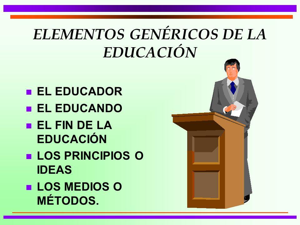 ELEMENTOS GENÉRICOS DE LA EDUCACIÓN n EL EDUCADOR n EL EDUCANDO n EL FIN DE LA EDUCACIÓN n LOS PRINCIPIOS O IDEAS n LOS MEDIOS O MÉTODOS.