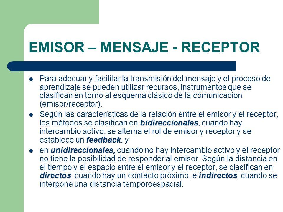 EMISOR – MENSAJE - RECEPTOR Para adecuar y facilitar la transmisión del mensaje y el proceso de aprendizaje se pueden utilizar recursos, instrumentos
