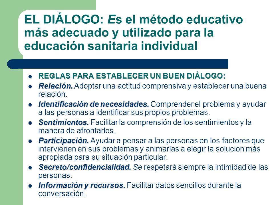 EL DIÁLOGO: Es el método educativo más adecuado y utilizado para la educación sanitaria individual REGLAS PARA ESTABLECER UN BUEN DIÁLOGO: REGLAS PARA