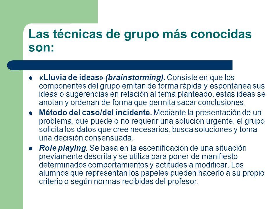 Las técnicas de grupo más conocidas son: «Lluvia de ideas» (brainstorming). Consiste en que los componentes del grupo emitan de forma rápida y espontá