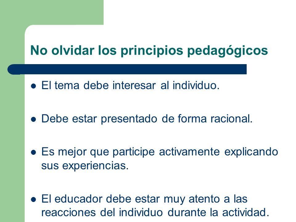 No olvidar los principios pedagógicos El tema debe interesar al individuo. Debe estar presentado de forma racional. Es mejor que participe activamente