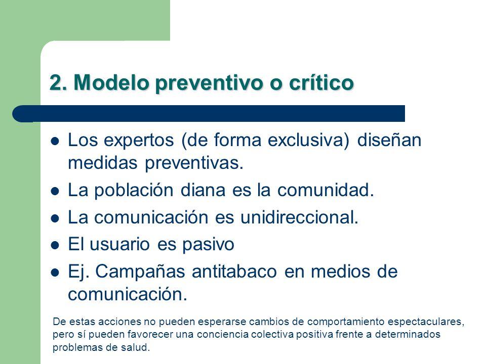 2. Modelo preventivo o crítico Los expertos (de forma exclusiva) diseñan medidas preventivas. La población diana es la comunidad. La comunicación es u