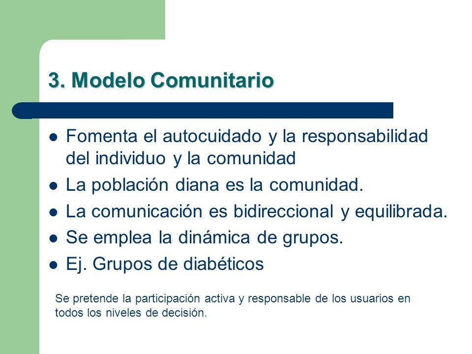 3. Modelo Comunitario Fomenta el autocuidado y la responsabilidad del individuo y la comunidad La población diana es la comunidad. La comunicación es