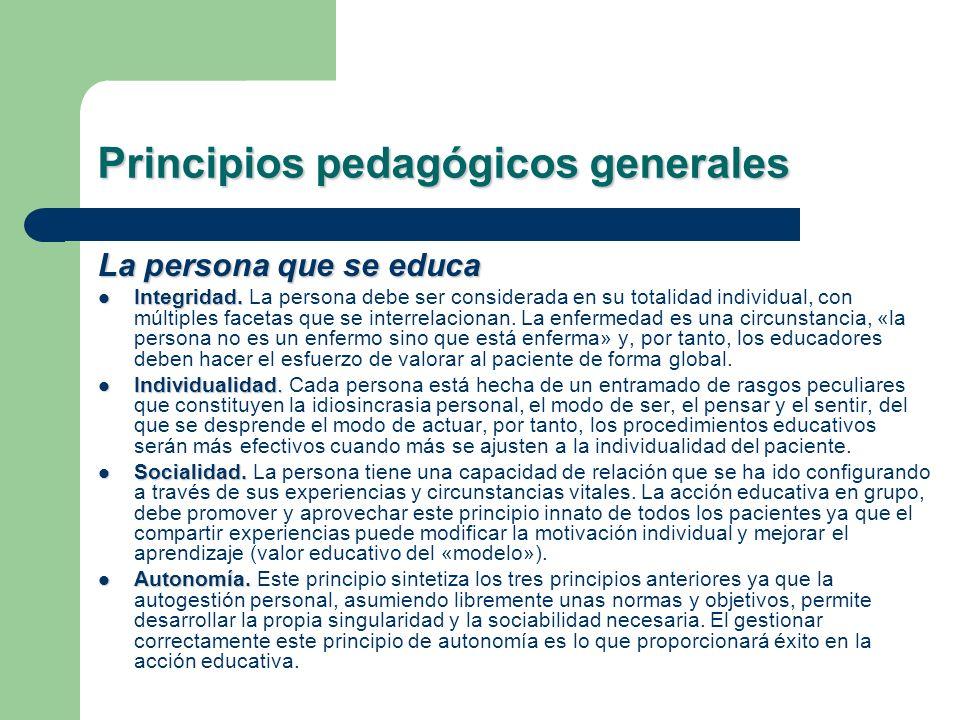 Principios pedagógicos generales La persona que se educa Integridad. Integridad. La persona debe ser considerada en su totalidad individual, con múlti