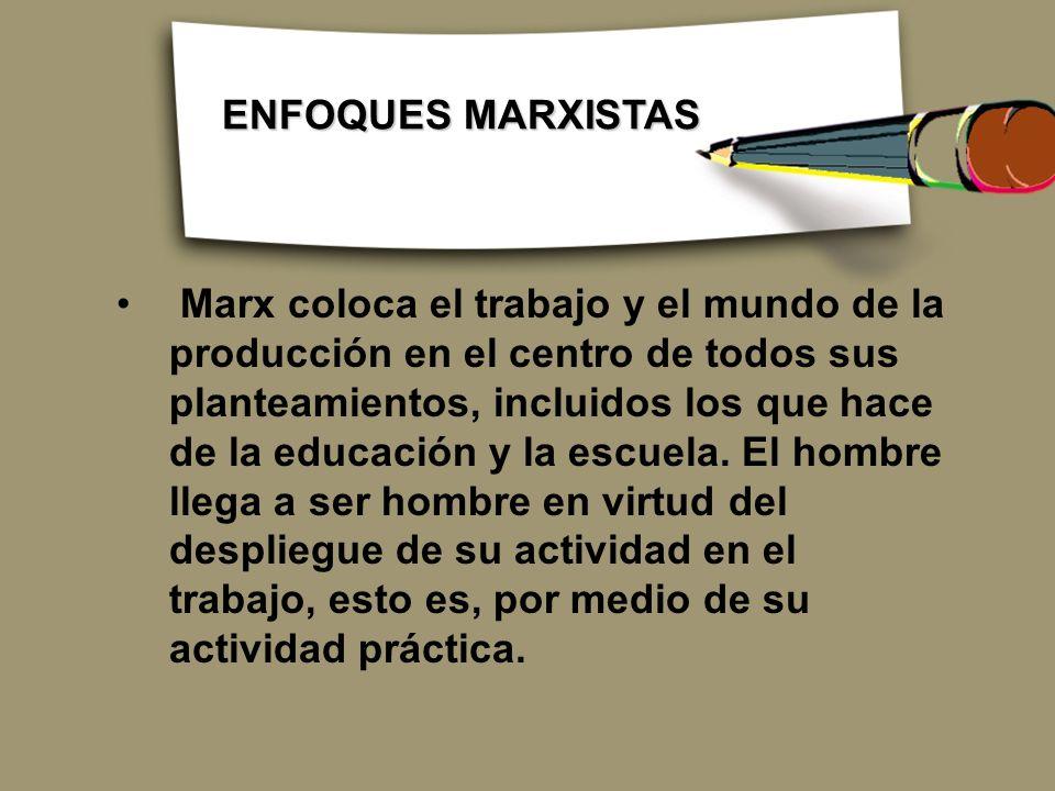Marx coloca el trabajo y el mundo de la producción en el centro de todos sus planteamientos, incluidos los que hace de la educación y la escuela. El h