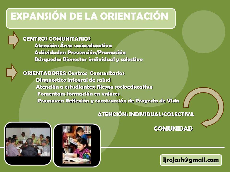 EXPANSIÓN DE LA ORIENTACIÓN ljrojash@gmail.com CENTROS COMUNITARIOS Atención: Área socioeducativa Atención: Área socioeducativa Actividades: Prevenció