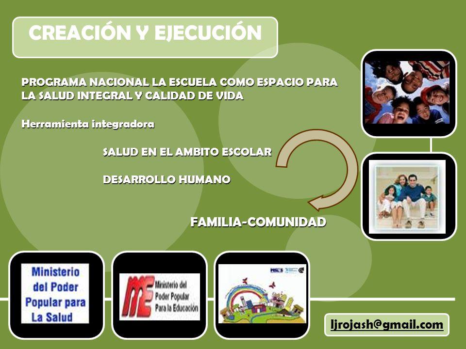 CREACIÓN Y EJECUCIÓN ljrojash@gmail.com PROGRAMA NACIONAL LA ESCUELA COMO ESPACIO PARA LA SALUD INTEGRAL Y CALIDAD DE VIDA Herramienta integradora SALUD EN EL AMBITO ESCOLAR SALUD EN EL AMBITO ESCOLAR DESARROLLO HUMANO DESARROLLO HUMANO FAMILIA-COMUNIDAD FAMILIA-COMUNIDAD