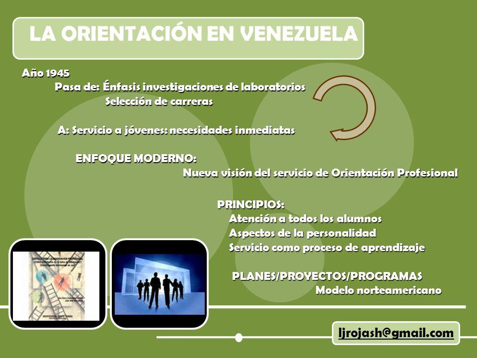 LA ORIENTACIÓN EN VENEZUELA ljrojash@gmail.com Año 1945 Pasa de: Énfasis investigaciones de laboratorios Pasa de: Énfasis investigaciones de laborator