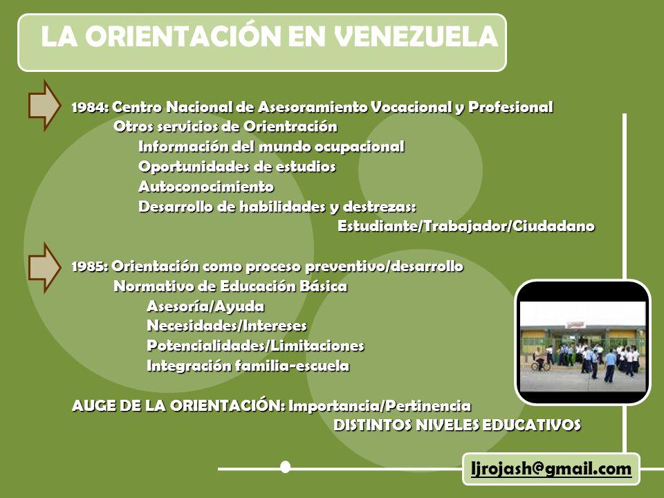 LA ORIENTACIÓN EN VENEZUELA ljrojash@gmail.com 1984: Centro Nacional de Asesoramiento Vocacional y Profesional Otros servicios de Orientración Otros s