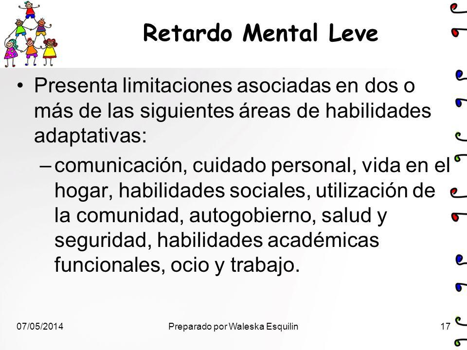 Retardo Mental Leve Presenta limitaciones asociadas en dos o más de las siguientes áreas de habilidades adaptativas: –comunicación, cuidado personal,
