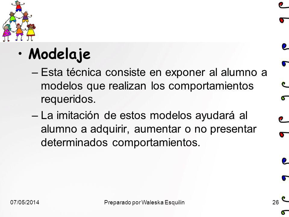 Modelaje –Esta técnica consiste en exponer al alumno a modelos que realizan los comportamientos requeridos. –La imitación de estos modelos ayudará al