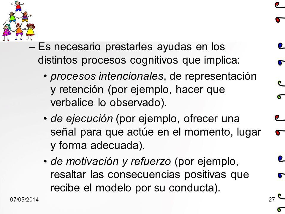 –Es necesario prestarles ayudas en los distintos procesos cognitivos que implica: procesos intencionales, de representación y retención (por ejemplo,