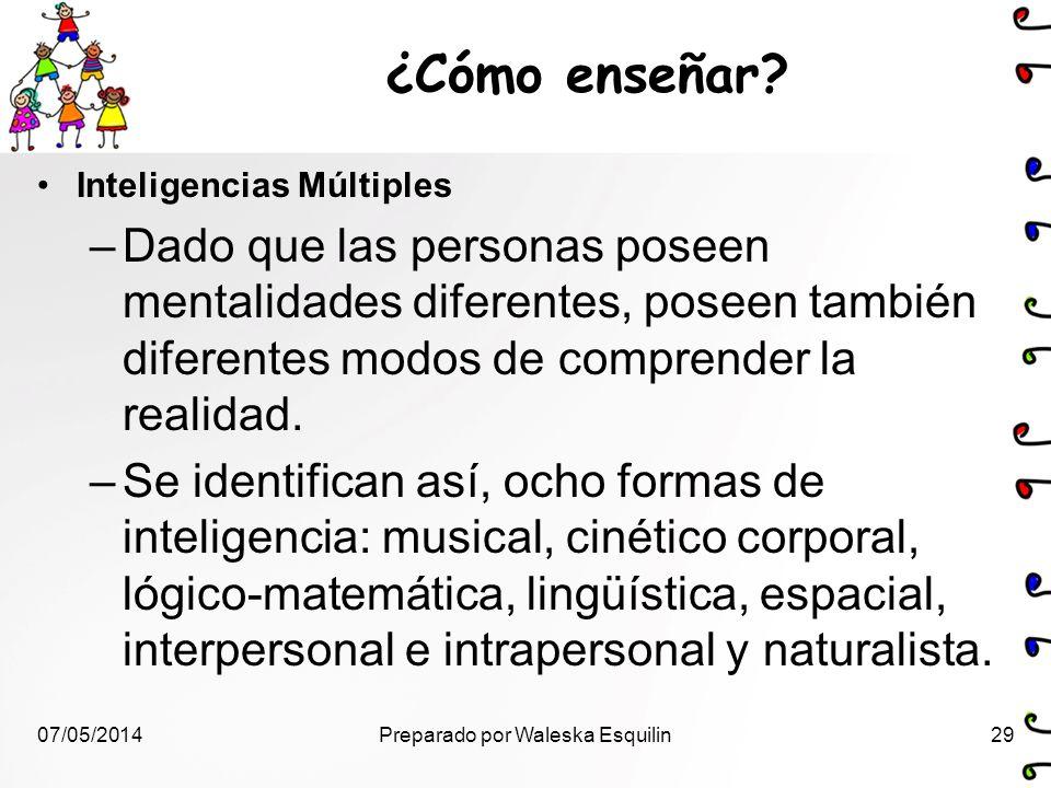 Inteligencias Múltiples –Dado que las personas poseen mentalidades diferentes, poseen también diferentes modos de comprender la realidad. –Se identifi