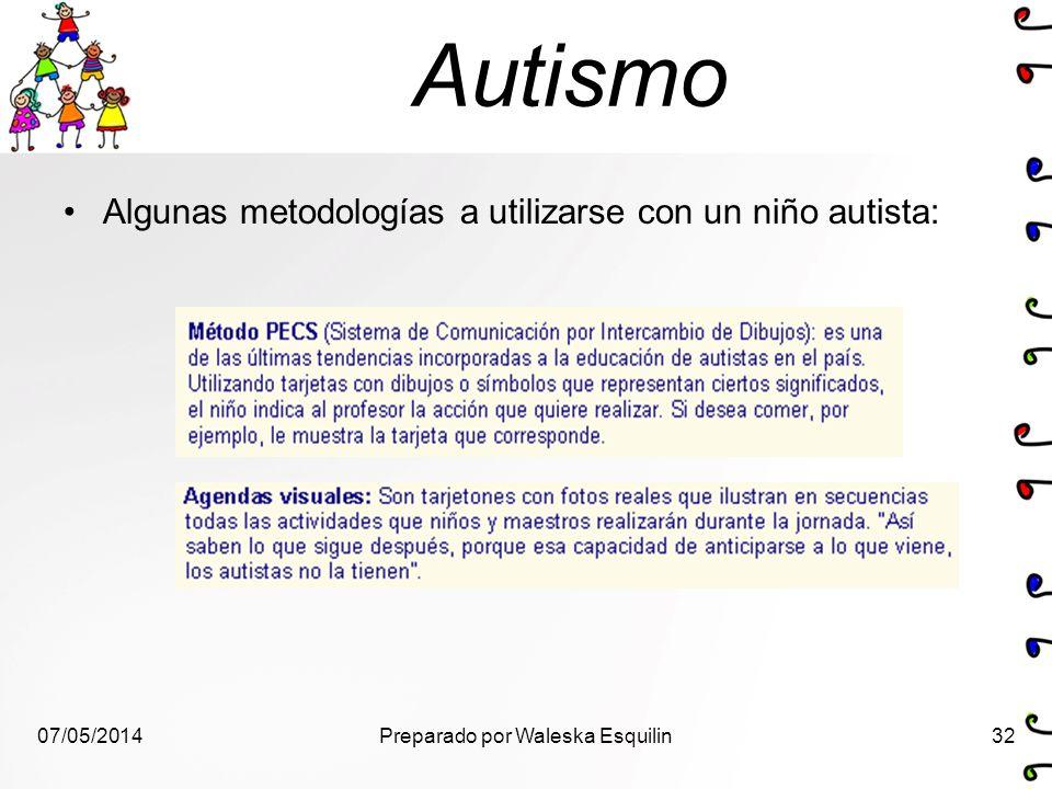 Autismo Algunas metodologías a utilizarse con un niño autista: 07/05/201432Preparado por Waleska Esquilin