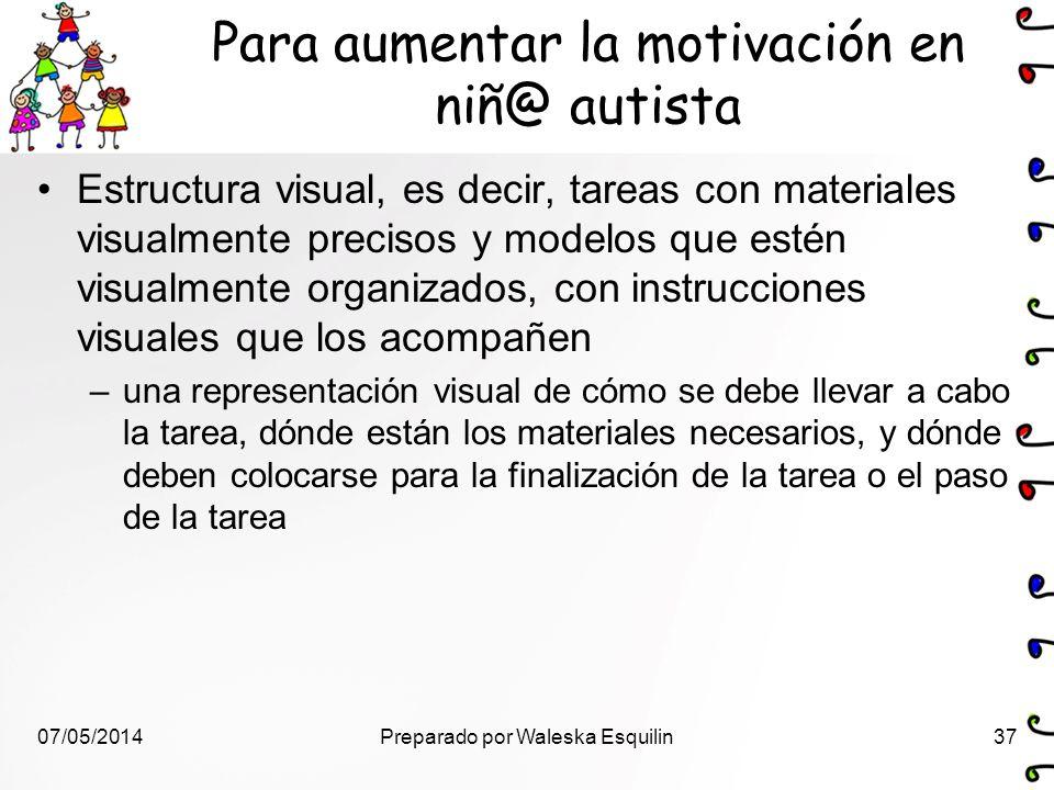 Para aumentar la motivación en niñ@ autista Estructura visual, es decir, tareas con materiales visualmente precisos y modelos que estén visualmente or