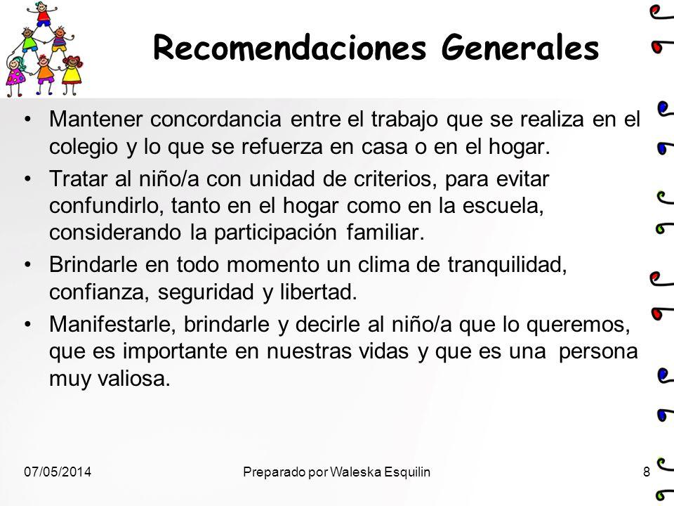 Recomendaciones Generales Mantener concordancia entre el trabajo que se realiza en el colegio y lo que se refuerza en casa o en el hogar. Tratar al ni