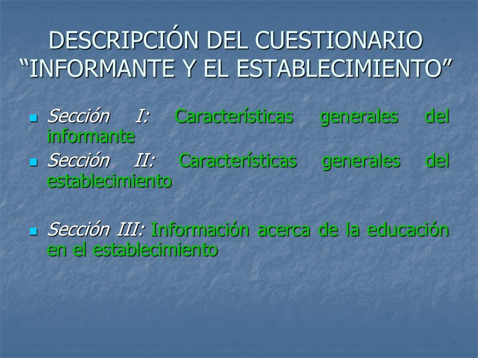 DESCRIPCIÓN DEL CUESTIONARIO INFORMANTE Y EL ESTABLECIMIENTO Sección I: Características generales del informante Sección I: Características generales