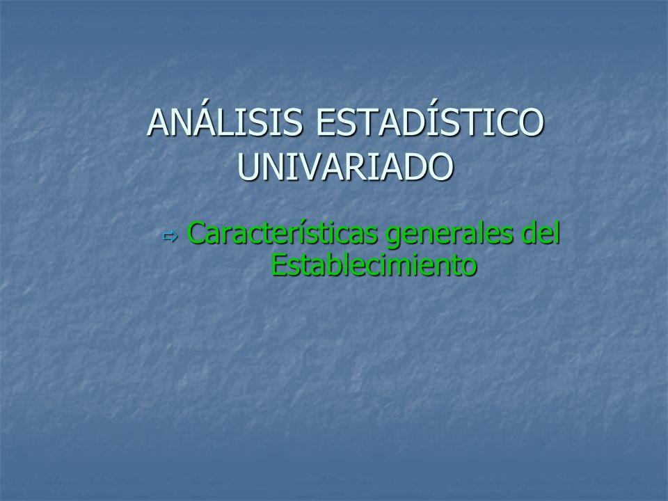 ANÁLISIS ESTADÍSTICO UNIVARIADO Características generales del Establecimiento Características generales del Establecimiento