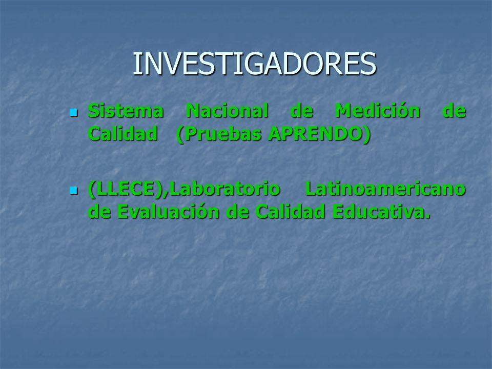 INVESTIGADORES Sistema Nacional de Medición de Calidad (Pruebas APRENDO) Sistema Nacional de Medición de Calidad (Pruebas APRENDO) (LLECE),Laboratorio