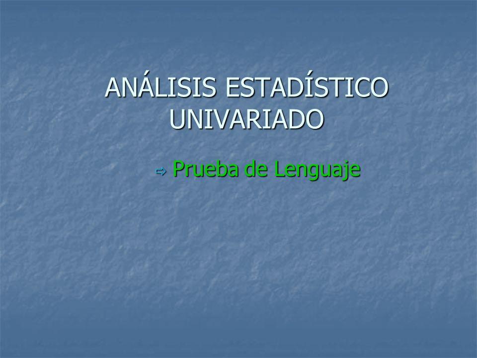 ANÁLISIS ESTADÍSTICO UNIVARIADO Prueba de Lenguaje Prueba de Lenguaje