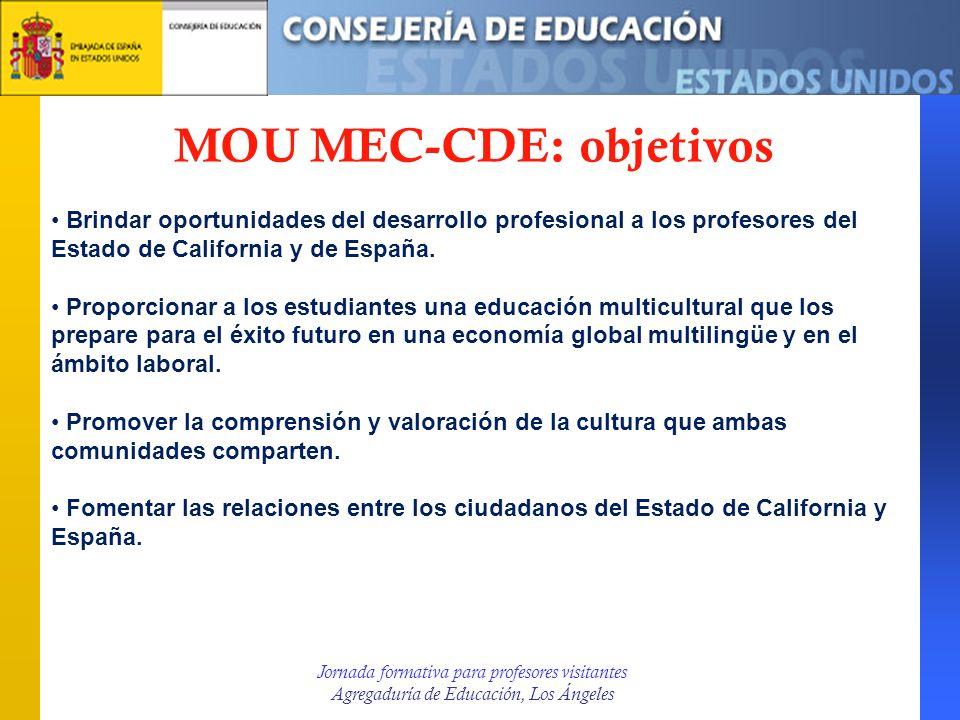Jornada formativa para profesores visitantes Agregaduría de Educación, Los Ángeles MOU MEC-CDE: objetivos Brindar oportunidades del desarrollo profesi