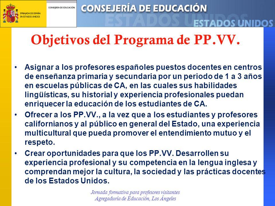 Objetivos del Programa de PP.VV. Asignar a los profesores españoles puestos docentes en centros de enseñanza primaria y secundaria por un periodo de 1