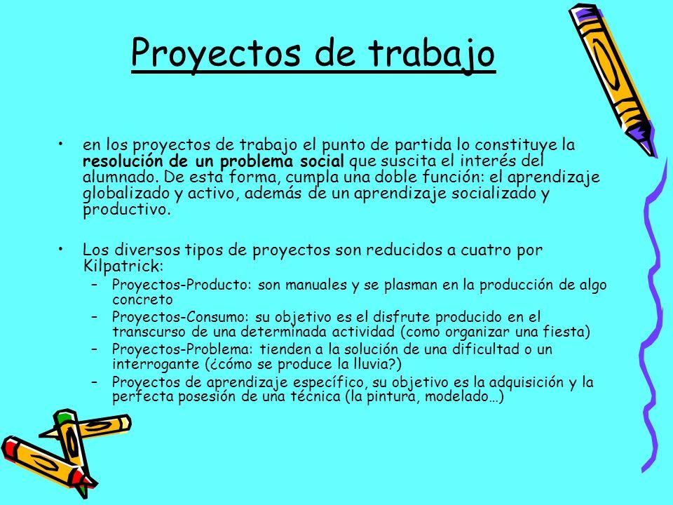 Proyectos de trabajo en los proyectos de trabajo el punto de partida lo constituye la resolución de un problema social que suscita el interés del alum