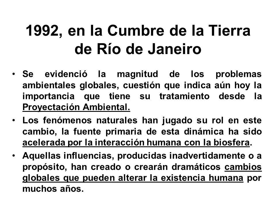 1992, en la Cumbre de la Tierra de Río de Janeiro Se evidenció la magnitud de los problemas ambientales globales, cuestión que indica aún hoy la impor