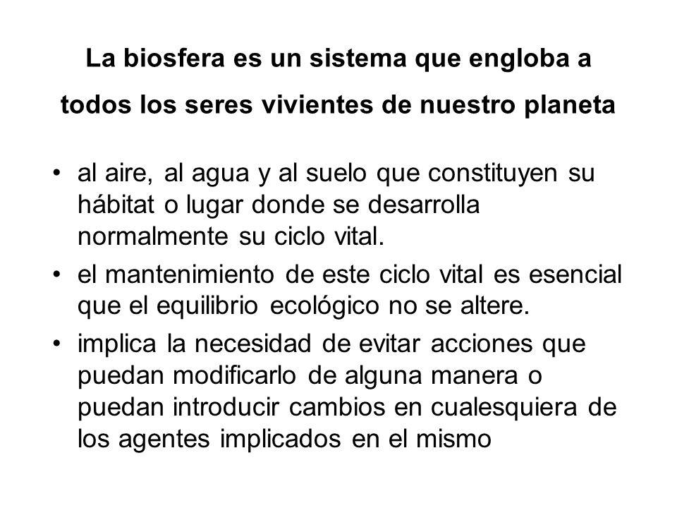 La biosfera es un sistema que engloba a todos los seres vivientes de nuestro planeta al aire, al agua y al suelo que constituyen su hábitat o lugar do