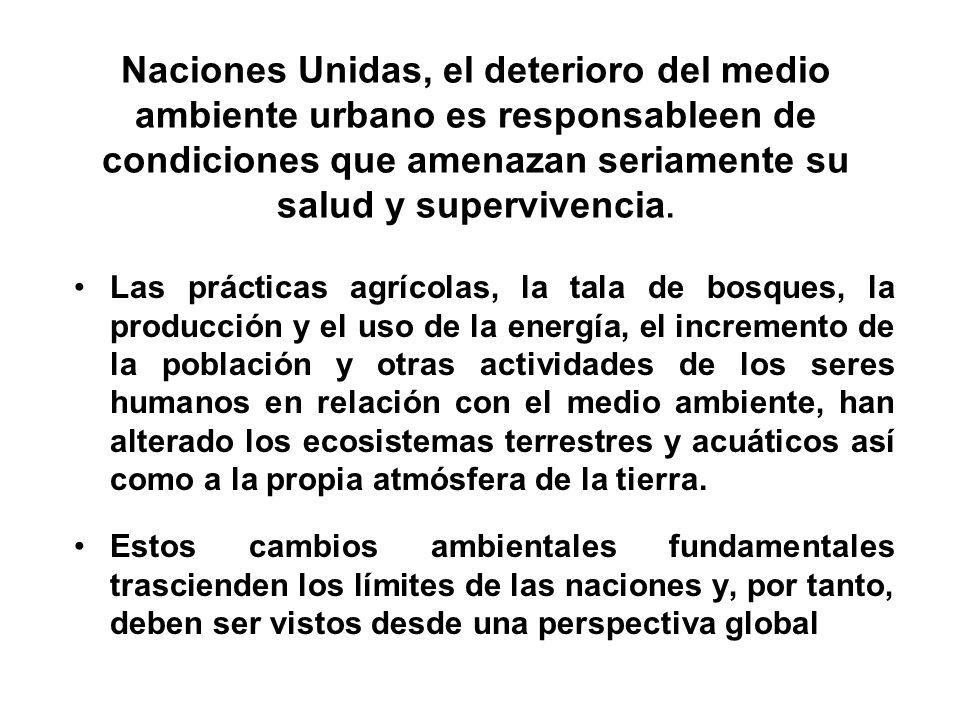 Naciones Unidas, el deterioro del medio ambiente urbano es responsableen de condiciones que amenazan seriamente su salud y supervivencia. Las práctica