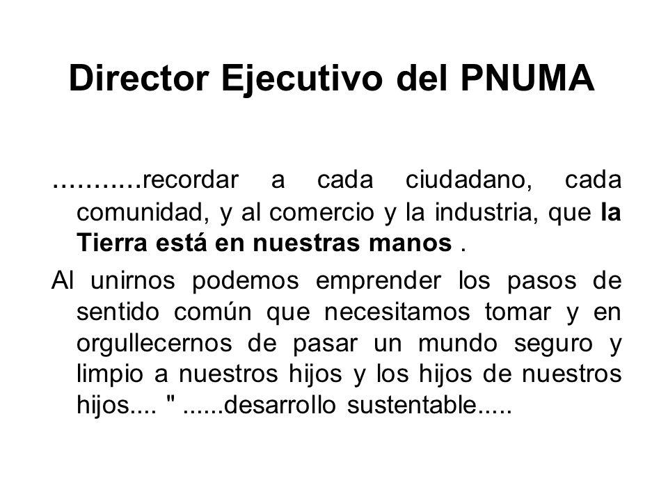 Director Ejecutivo del PNUMA........... recordar a cada ciudadano, cada comunidad, y al comercio y la industria, que la Tierra está en nuestras manos.