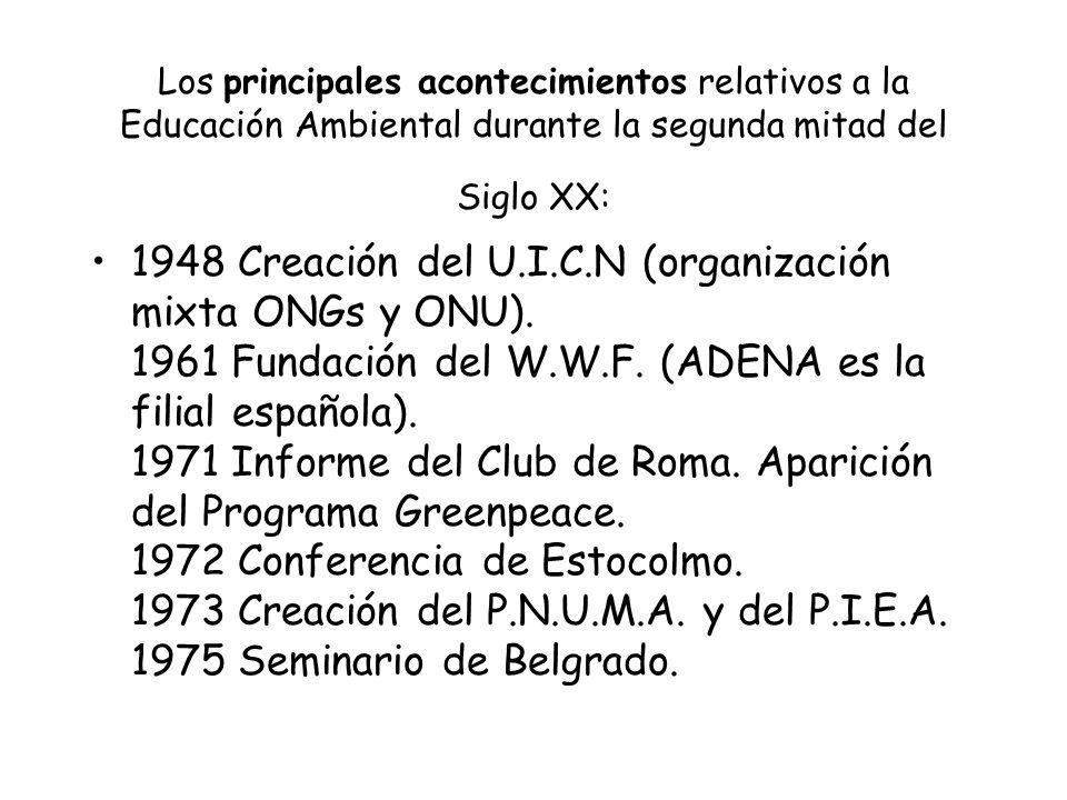 Los principales acontecimientos relativos a la Educación Ambiental durante la segunda mitad del Siglo XX: 1948 Creación del U.I.C.N (organización mixt