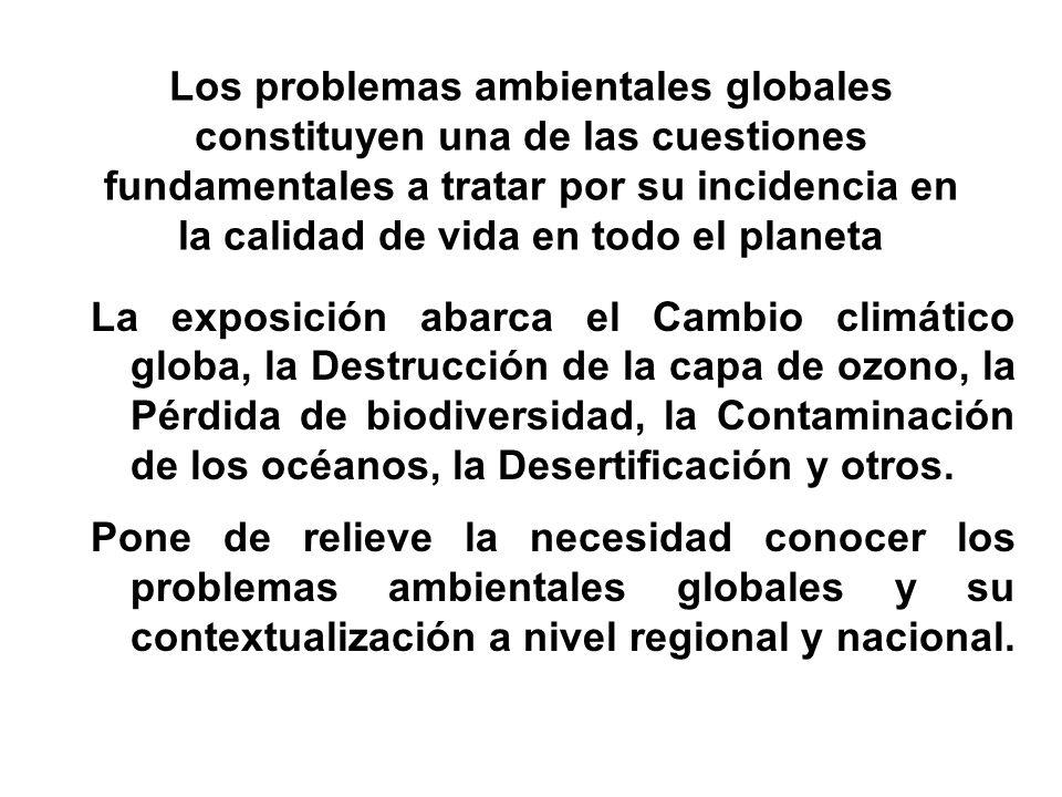 Los problemas ambientales globales constituyen una de las cuestiones fundamentales a tratar por su incidencia en la calidad de vida en todo el planeta
