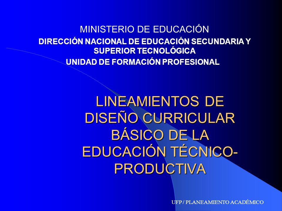 LINEAMIENTOS DE DISEÑO CURRICULAR BÁSICO DE LA EDUCACIÓN TÉCNICO- PRODUCTIVA MINISTERIO DE EDUCACIÓN DIRECCIÓN NACIONAL DE EDUCACIÓN SECUNDARIA Y SUPE