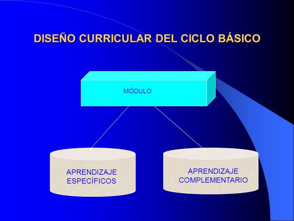 DISEÑO CURRICULAR DEL CICLO BÁSICO MÓDULO APRENDIZAJE COMPLEMENTARIO APRENDIZAJE ESPECÍFICOS