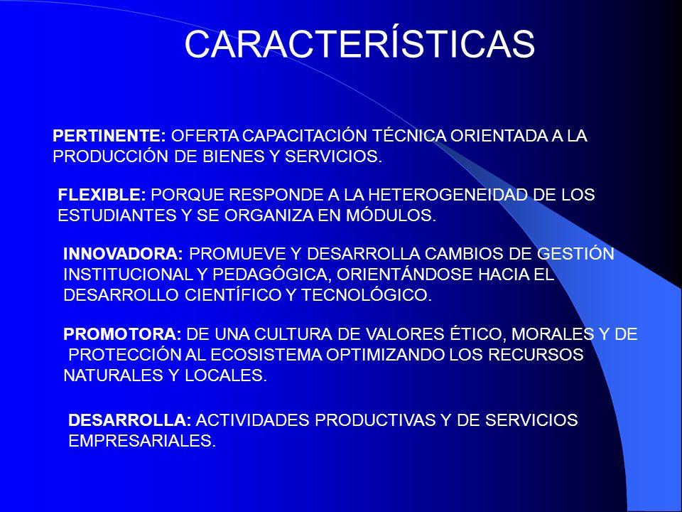 CARACTERÍSTICAS PERTINENTE: OFERTA CAPACITACIÓN TÉCNICA ORIENTADA A LA PRODUCCIÓN DE BIENES Y SERVICIOS. INNOVADORA: PROMUEVE Y DESARROLLA CAMBIOS DE