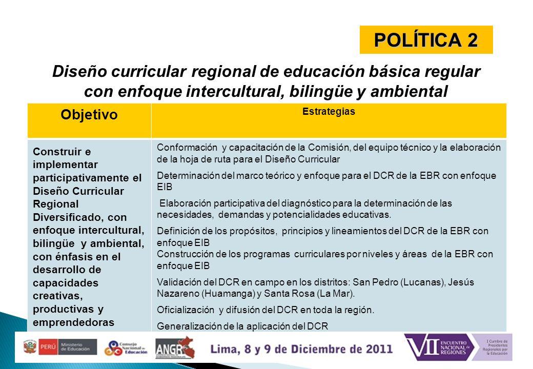 Objetivo Estrategias Construir e implementar participativamente el Diseño Curricular Regional Diversificado, con enfoque intercultural, bilingüe y amb