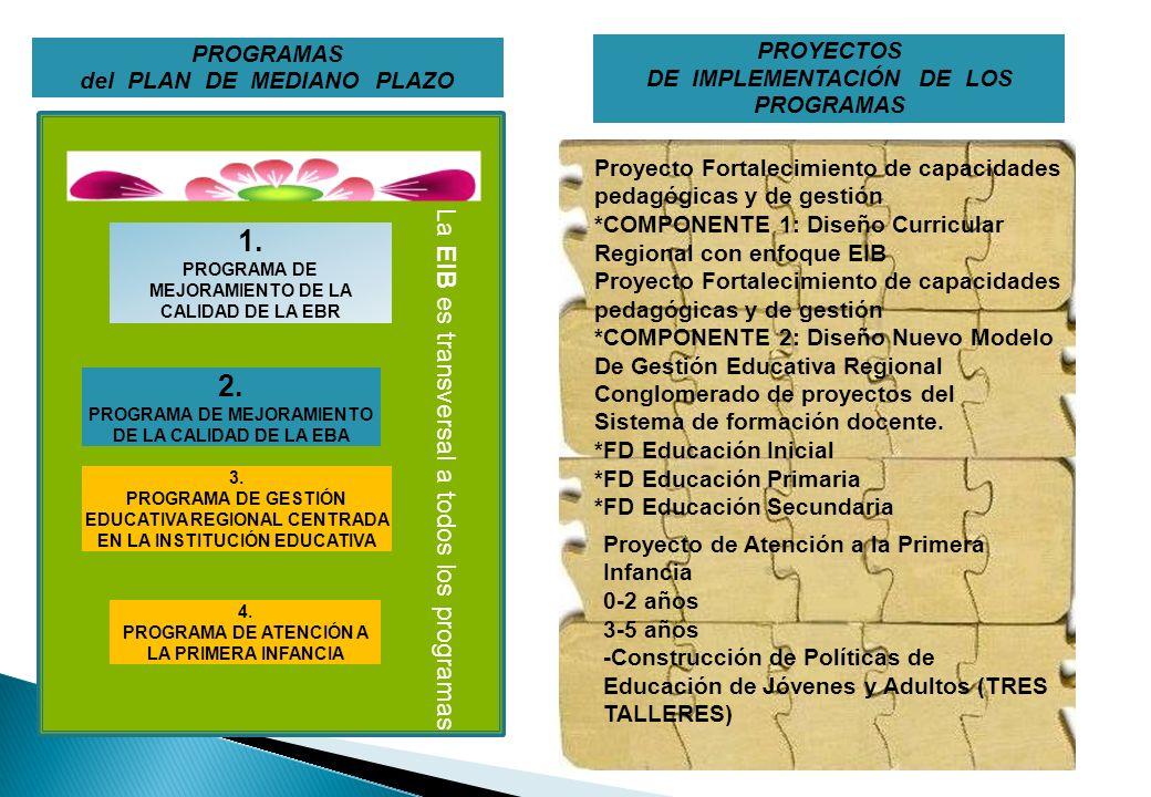 PROGRAMAS del PLAN DE MEDIANO PLAZO 1. PROGRAMA DE MEJORAMIENTO DE LA CALIDAD DE LA EBR 2. PROGRAMA DE MEJORAMIENTO DE LA CALIDAD DE LA EBA 3. PROGRAM