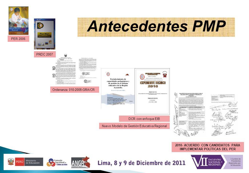 Antecedentes PMP Ordenanza 010-2008-GRA/CR PRDC 2007 PER 2006 Nuevo Modelo de Gestión Educativa Regional DCR con enfoque EIB 2010- ACUERDO CON CANDIDA