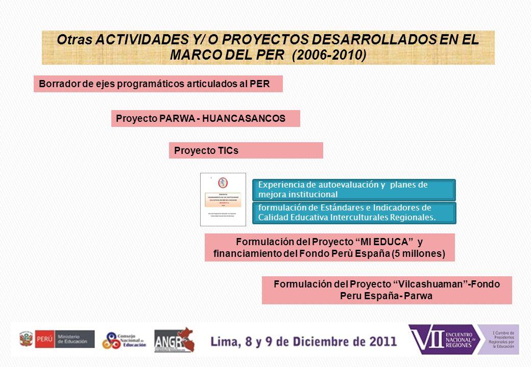 Borrador de ejes programáticos articulados al PER Otras ACTIVIDADES Y/ O PROYECTOS DESARROLLADOS EN EL MARCO DEL PER (2006-2010) Formulación del Proye
