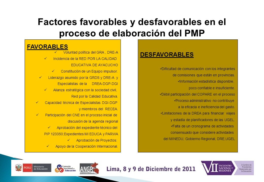 Factores favorables y desfavorables en el proceso de elaboración del PMP DESFAVORABLES Dificultad de comunicación con los integrantes de comisiones qu