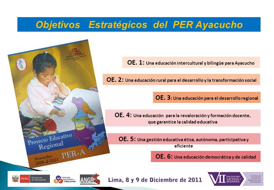OE. 1: Una educación intercultural y bilingüe para Ayacucho OE. 2: Una educación rural para el desarrollo y la transformación social OE. 5: Una gestió