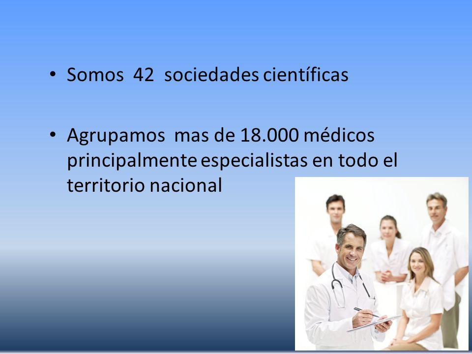Somos 42 sociedades científicas Agrupamos mas de 18.000 médicos principalmente especialistas en todo el territorio nacional