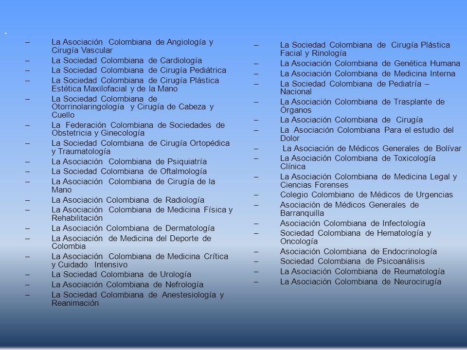 –La Asociación Colombiana de Angiología y Cirugía Vascular –La Sociedad Colombiana de Cardiología –La Sociedad Colombiana de Cirugía Pediátrica –La So