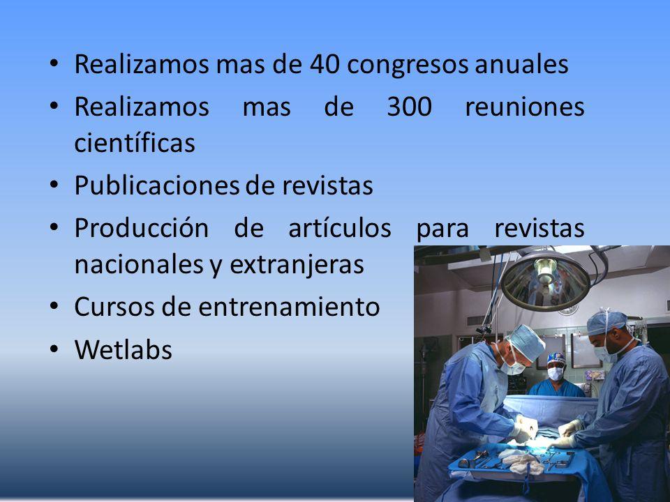 Realizamos mas de 40 congresos anuales Realizamos mas de 300 reuniones científicas Publicaciones de revistas Producción de artículos para revistas nac
