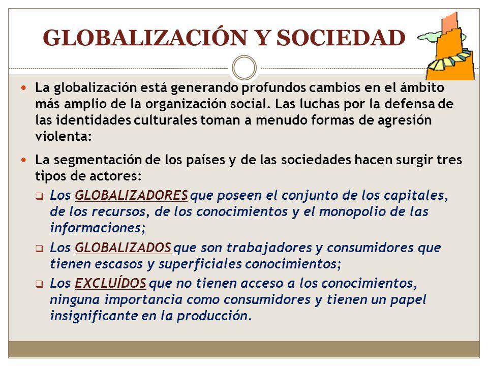 GLOBALIZACIÓN: principales aspectos Creciente importancia de los sistemas de comunicaciones globales. Interacción más fluida de las naciones, grupos s