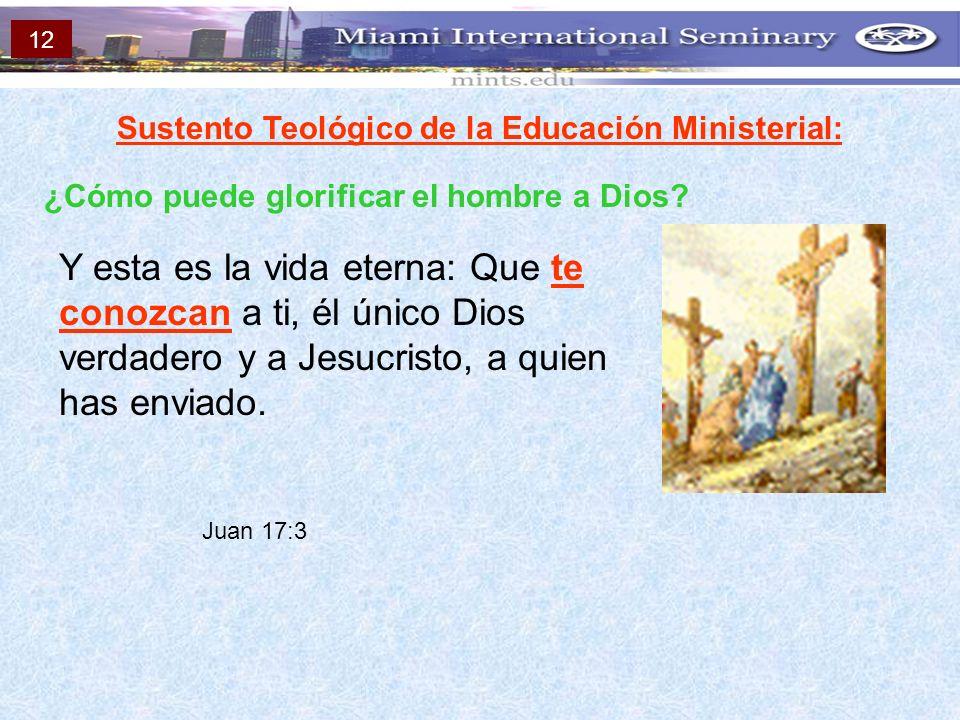 Sustento Teológico de la Educación Ministerial: ¿Cómo puede glorificar el hombre a Dios? Y esta es la vida eterna: Que te conozcan a ti, él único Dios