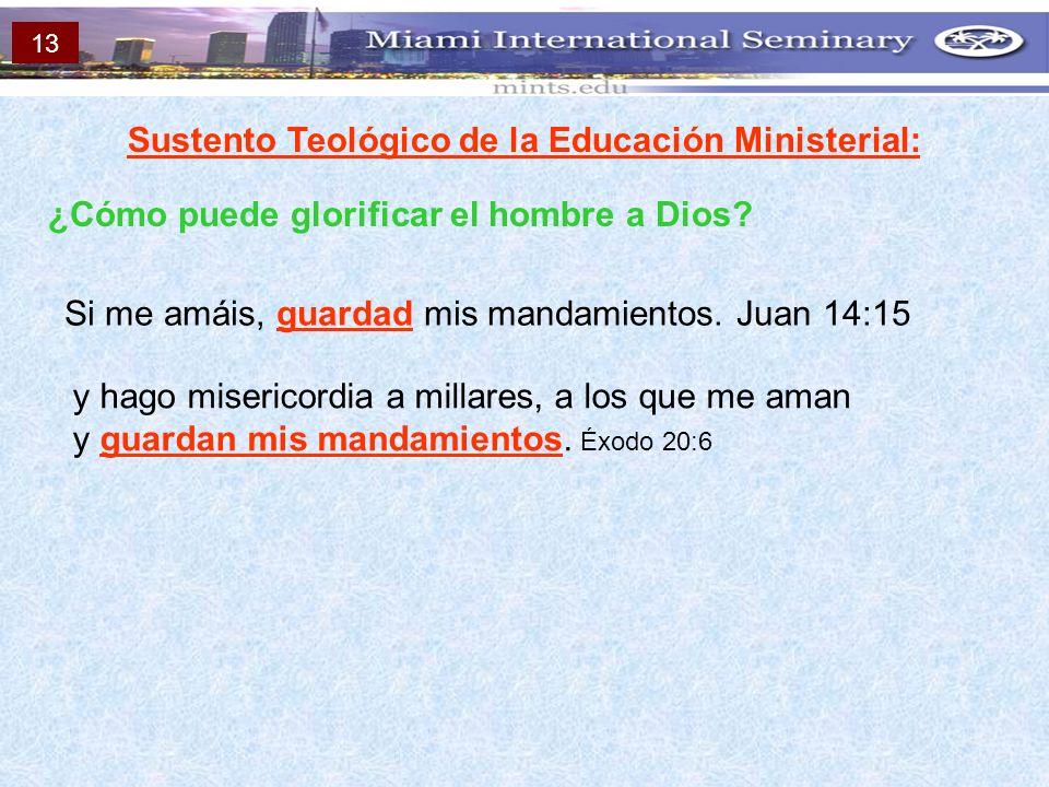Sustento Teológico de la Educación Ministerial: ¿Cómo puede glorificar el hombre a Dios? Si me amáis, guardad mis mandamientos. Juan 14:15 y hago mise