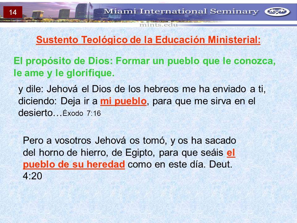 Sustento Teológico de la Educación Ministerial: El propósito de Dios: Formar un pueblo que le conozca, le ame y le glorifique. y dile: Jehová el Dios